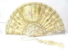 Superb Antique French Hand Fan Hand Painted Mother Of Pearl Romantic Scene