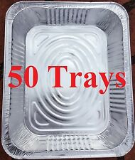 50 x Aluminum Foil Trays BBQ Disposable Roasting takeaway Oven Baking Party New