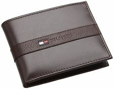Tommy Hilfiger Mens Brown Leather Ranger Passcase Wallet in Gift Box