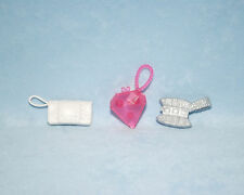 PINK Heart Shaped Purse Silver White Side Handle Purse LOT Genuine BARBIE