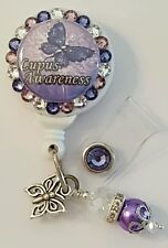 Personalized Dk Purple Butterfly card reel/ id badge holder for nurses, teachers
