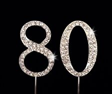 80th Birthday Anniversary Number Cake Topper Sparkling Rhinestones - 1.75 Inches