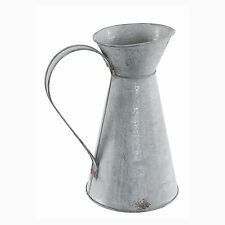 Decorative Grey Zinc Jug Vintage Rustic Shabby Chic Metal 26cm/10 Inches Tall