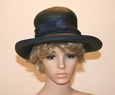 Vintage MR. CHARLES Ladies 50s 60s Black Tightly Woven Straw Panama Hat