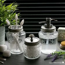 Kilner Vintage Glass Preserve Jar Bath Accessory Set with Chrome Water Well Pump