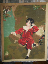 VINTAGE PICTURE TAPESTRY CANVAS RED BOY LAMBTON GAINSBOROUGH LAWRENCE OLD