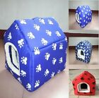 New Red/Blue Winter Warm Removable Cushion Mat Print Dog Cat Pet Bed House S M L