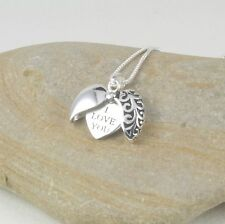 925 Sterling Silver I Love You Open Heart Pendant Necklace in Gift Box