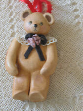 Studio Art Pottery Handmade Clay Ornament Brown BEAR artist Christina Mae Risley