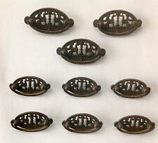 Set of 9 Antique Brass Furniture Handles, Oval w/Griffin's