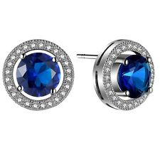 Genuine AAA Royal Blue Sapphire White CZ Sterling Silver Stud Earrings Gift S1