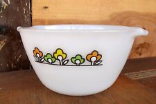 VTG Anchor Hocking Fire King Mixing Bowl SUMMERFIELD Flowers Orange Lime Yellow