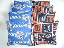 DETROIT TIGERS & LIONS CORNHOLE BEAN BAGS SET OF 8 TOP QUALITY TOSS GAME