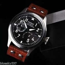 47mm Parnis Black Dial White Numbers Seagull Power Reserve Automatic Men Watch