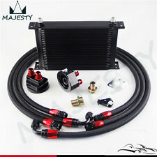25 Row AN-8/AN8 Engine Oil Cooler + Filter Relocation hose Kit Black