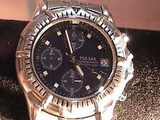 pulsar mens wrist watch with chronograph silver tone adjustable band