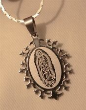 Handsome Frosted Starburst Stainless Steel Our Lady of Guadalupe Medal Necklace