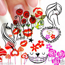 11 Sets Flower Nail Art Decal Water Slide Transfer Temporary Tattoo Stickers W50
