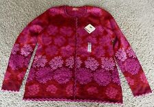 NWT OLEANA Sweater # 329 - Color R - Red - Merino Wool & Silk - Size Lg