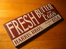 FRESH BUTTER AND EGGS Rustic Wood Cow & Chicken Farm Kitchen Sign Home Decor NEW