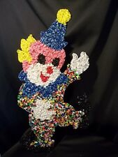 "VINTAGE MELTED 20"" PLASTIC DANCING CLOWN POPCORN DECORATION COLORFUL"
