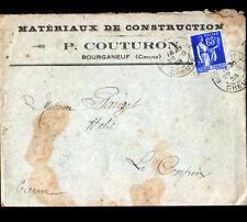 """BOURGANEUF (23) MATERIAUX de CONSTRUCTION """"P. COUTURON"""" voyagée en 1938"""