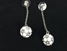 Kenneth Jay Lane Crystal Accent Ball Drop Earrings New White Enamel