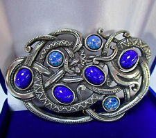 SIGNED SOLD'OR (Miracle) SCOTTISH BLUE OPAL/LAPIS BROOCH/PIN