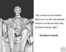 """Abraham Lincoln Memorial """" my concern is"""" Famous Quote 8 x 10 Photo Picture #mg5"""