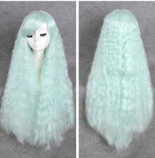 Fashion Womens Pastel goth Afro Fluffy mint green long rhapsody hair no lace wig