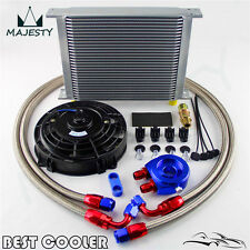 """Universal 30 Row engine Transmission 8AN Oil Cooler KIT+ 7"""" Electric Fan Kit BL"""