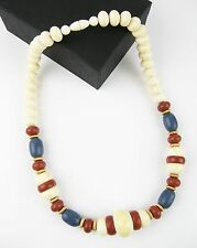 "Vintage Celluloid Chunky Large Bead Choker Necklace 22"" Ivory, Blue, Brown"