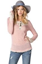 NWT Miss Me Contrast Henley Top MDT642L Pink - Size S