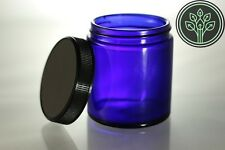 Cobalt Blue Glass Straight Sided Kitchen / Apothecary / Herb Jars 4 oz (4 pack)