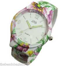 NEW JAS BANGLE WATCH Purple White Green TROPICAL SNAPDRAGON FLOWER METAL BAND