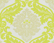 Wow! Bling Bling Lime White Silver Glitter Damask Textured Feature Wallpaper