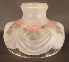 "10"" Coleman # 322 Style Inside Hand Painted Roses Glass Lamp Shade fits Aladdin"