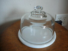 VINTAGE WHITE MARBLE CHEESE DISH TRAY with GLASS DOME COVER - DUTCH GARDEN - VG
