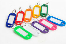 10Pcs Mixed KEY ID TAGS MULTI COLOURED FOB RING IDENTIFIERS + NAME CARD