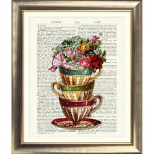 ART PRINT ON ANTIQUE BOOK PAGE Tea Cups Vintage Flowers Floral OLD DICTIONARY