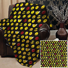 EMOJI FACES SOFT PICNIC THROW BLANKET BED COVER GREAT GIFT IDEA L&S PRINTS