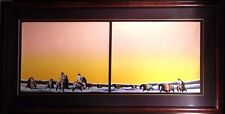 """Earl Biss """"Horse Thieves At Dawn"""" Peach color sky Custom Frame Hand Signed"""