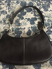 COACH Black Leather w Topstitching Small Shoulder Bag