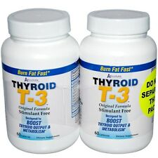 Absolute Nutrition, Thyroid T-3, Original Formula, 2 Bottles, 60 Capsules Each