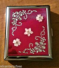 Eclipse Pink Double Sided Metal Handcrafted Stones King Size Cigarette Case