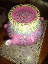 UNIQUE PINK/FLORA CHINESE ART POTTERY KENDI/GINGER JAR/POT--FAMILLE ROSE VASE...