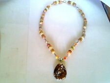 Handcrafted Zebra Jasper Gemstone Pendant Jade and Jasper Silver Necklace