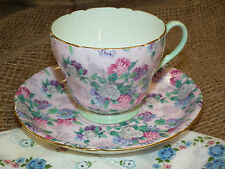 VINTAGE SHELLEY SUMMER GLORY CHINTZ HENLEY PINK GREEN TEA CUP & SAUCER