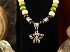 Necklace Butterfly Pendant Bail Wooden Prayer Beads of Green, Cream, and Black