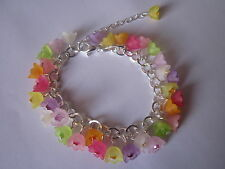 Multicoloured Lucite Flower Charm Bracelet - Silver Plated - Multi
